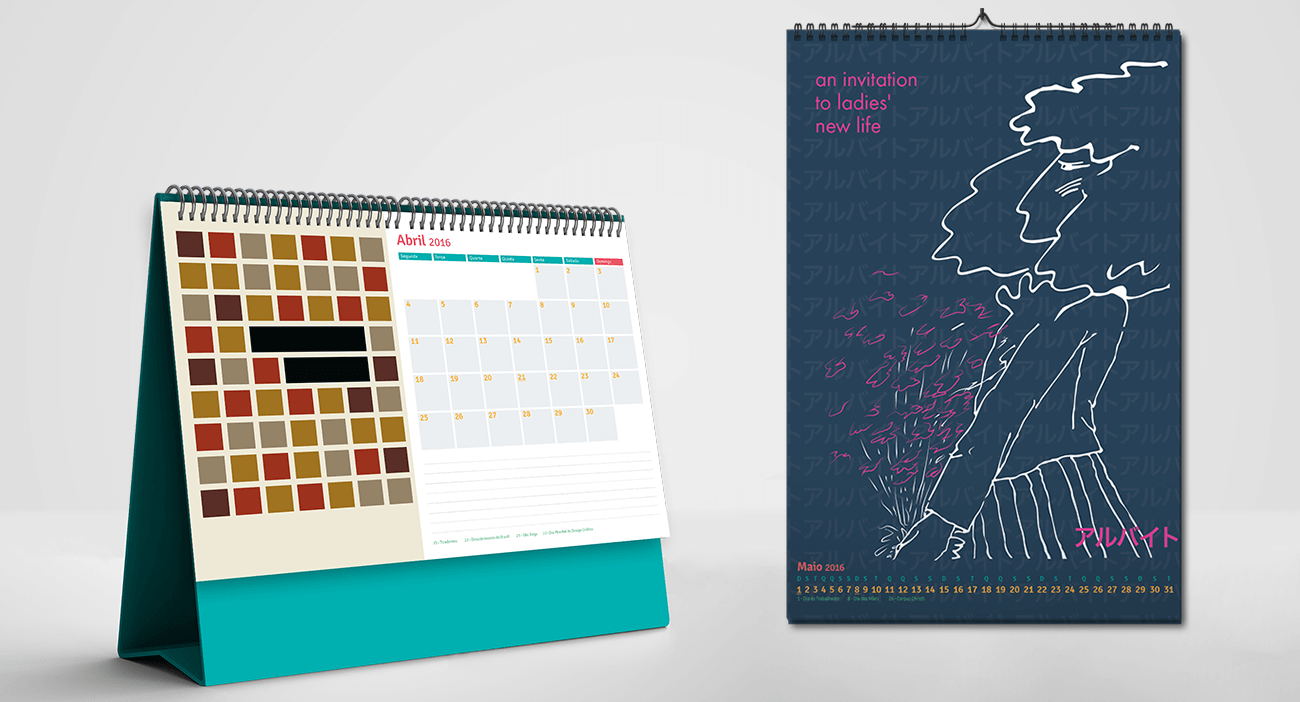 mockup dos calendários montados