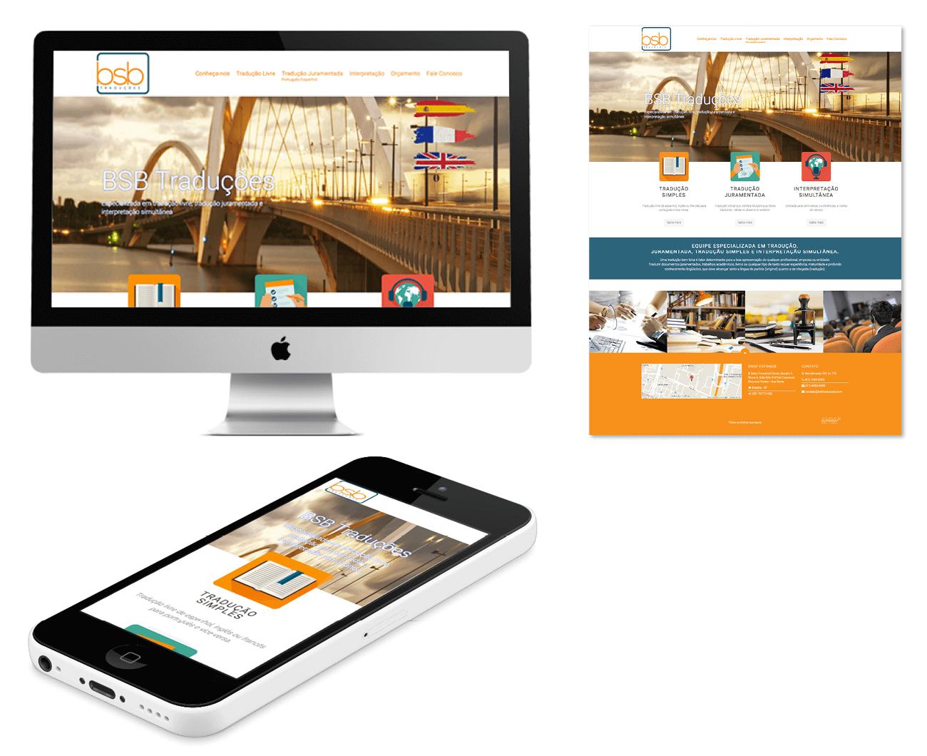layout responsivo do site bsb empresa de traduções
