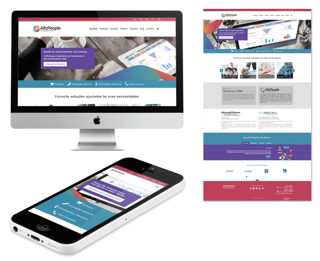 layout responsivo do site alfapeople mutinacional de software para crm