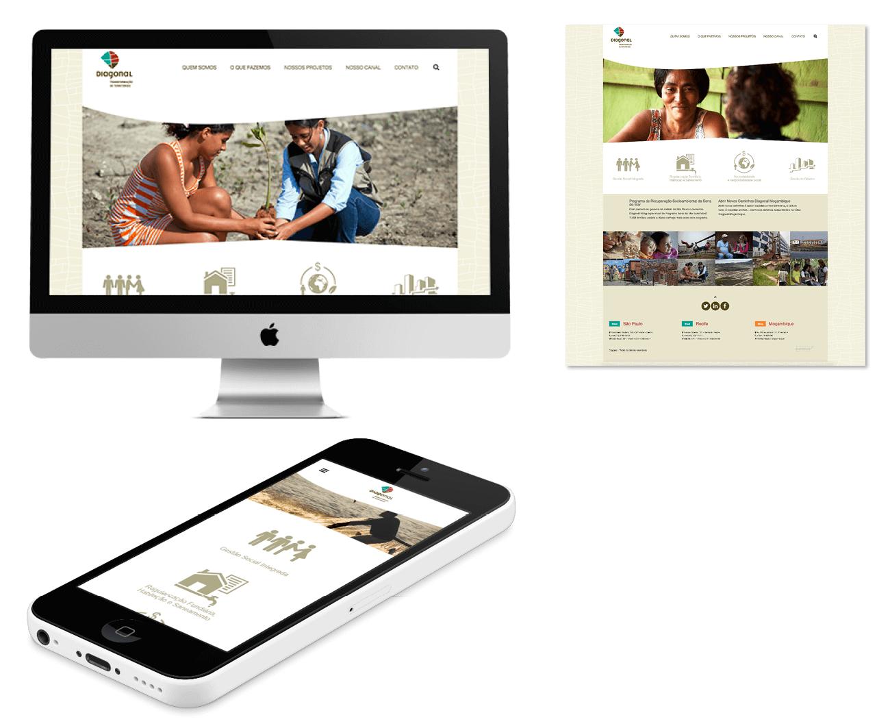 layout responsivo do site diagonal transformação de territórios