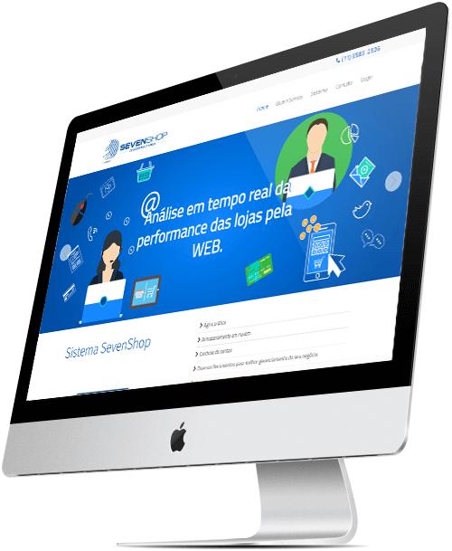 layout responsivo do site sevenshop empresa de software de gestão comercial
